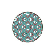 Colorful Geometric Graphic Floral Pattern Hat Clip Ball Marker (4 Pack)