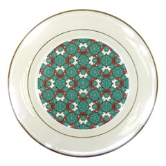 Colorful Geometric Graphic Floral Pattern Porcelain Plates