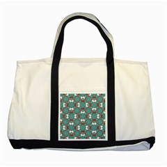 Colorful Geometric Graphic Floral Pattern Two Tone Tote Bag