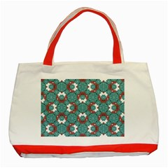 Colorful Geometric Graphic Floral Pattern Classic Tote Bag (red)