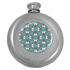 Colorful Geometric Graphic Floral Pattern Round Hip Flask (5 Oz)