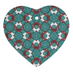 Colorful Geometric Graphic Floral Pattern Heart Ornament (two Sides)