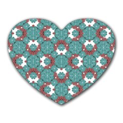 Colorful Geometric Graphic Floral Pattern Heart Mousepads