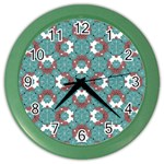 Colorful Geometric Graphic Floral Pattern Color Wall Clocks Front