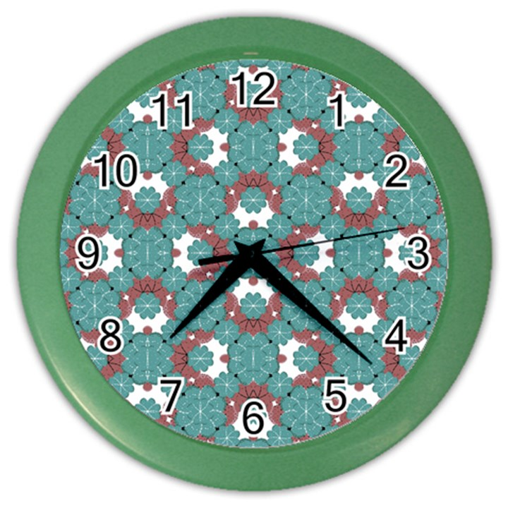 Colorful Geometric Graphic Floral Pattern Color Wall Clocks
