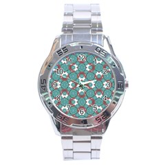 Colorful Geometric Graphic Floral Pattern Stainless Steel Analogue Watch