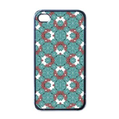 Colorful Geometric Graphic Floral Pattern Apple Iphone 4 Case (black)