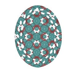Colorful Geometric Graphic Floral Pattern Oval Filigree Ornament (two Sides)