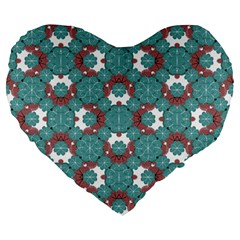 Colorful Geometric Graphic Floral Pattern Large 19  Premium Heart Shape Cushions
