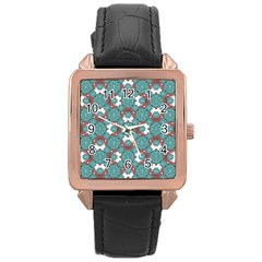 Colorful Geometric Graphic Floral Pattern Rose Gold Leather Watch