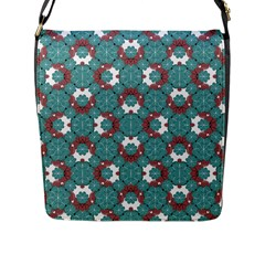 Colorful Geometric Graphic Floral Pattern Flap Messenger Bag (l)
