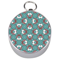 Colorful Geometric Graphic Floral Pattern Silver Compasses