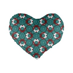 Colorful Geometric Graphic Floral Pattern Standard 16  Premium Flano Heart Shape Cushions