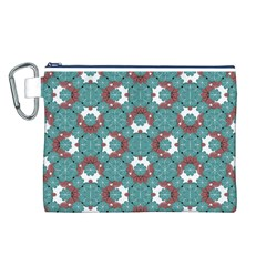 Colorful Geometric Graphic Floral Pattern Canvas Cosmetic Bag (l)