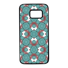 Colorful Geometric Graphic Floral Pattern Samsung Galaxy S7 Black Seamless Case