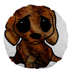 Plott Hound Cartoon Large 18  Premium Flano Round Cushions