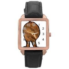 Plott Hound Butt Rose Gold Leather Watch