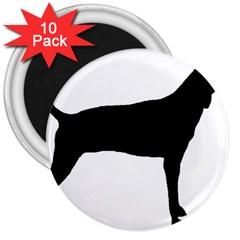 Plott Hound Silhouette 3  Magnets (10 Pack)