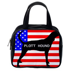 Plott Hound Name Silhouette On Flag Classic Handbags (one Side)