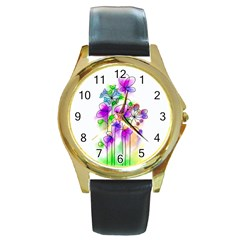Flovers 23 Round Gold Metal Watch