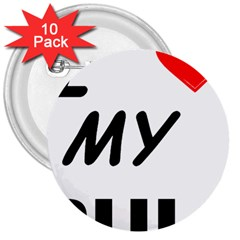 Puli Love 3  Buttons (10 Pack)
