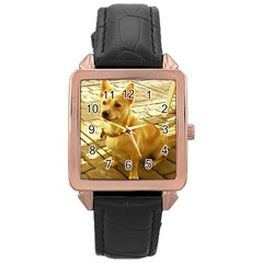 Podengo Podengo Sitting Rose Gold Leather Watch
