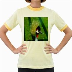 Bird Hairstyle Animals Sexy Beauty Women s Fitted Ringer T Shirts