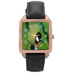 Bird Hairstyle Animals Sexy Beauty Rose Gold Leather Watch