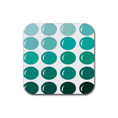 Bubbel Balloon Shades Teal Rubber Square Coaster (4 Pack)
