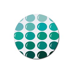 Bubbel Balloon Shades Teal Rubber Round Coaster (4 Pack)