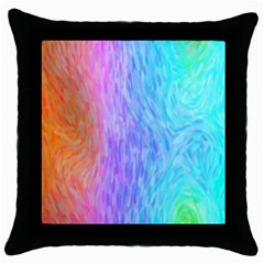 Aurora Rainbow Orange Pink Purple Blue Green Colorfull Throw Pillow Case (black)