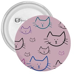 Cat Pattern Face Smile Cute Animals Beauty 3  Buttons