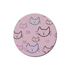Cat Pattern Face Smile Cute Animals Beauty Rubber Coaster (round)