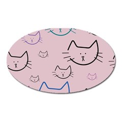 Cat Pattern Face Smile Cute Animals Beauty Oval Magnet