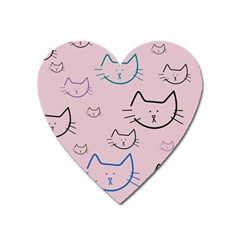 Cat Pattern Face Smile Cute Animals Beauty Heart Magnet