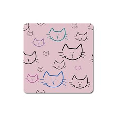 Cat Pattern Face Smile Cute Animals Beauty Square Magnet