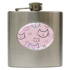Cat Pattern Face Smile Cute Animals Beauty Hip Flask (6 Oz)