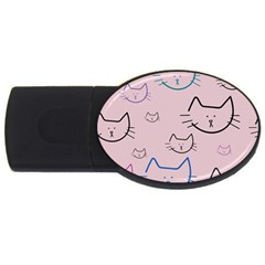 Cat Pattern Face Smile Cute Animals Beauty Usb Flash Drive Oval (4 Gb)