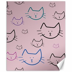 Cat Pattern Face Smile Cute Animals Beauty Canvas 20  X 24