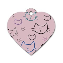 Cat Pattern Face Smile Cute Animals Beauty Dog Tag Heart (two Sides)