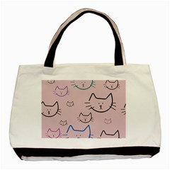 Cat Pattern Face Smile Cute Animals Beauty Basic Tote Bag (two Sides)