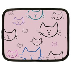 Cat Pattern Face Smile Cute Animals Beauty Netbook Case (large)
