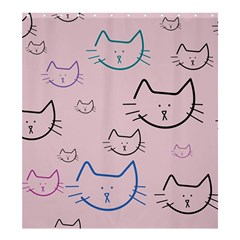 Cat Pattern Face Smile Cute Animals Beauty Shower Curtain 66  X 72  (large)