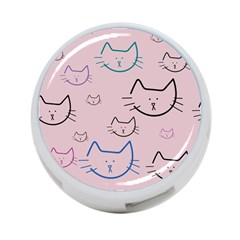 Cat Pattern Face Smile Cute Animals Beauty 4 Port Usb Hub (two Sides)