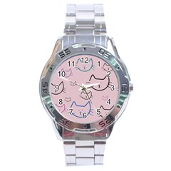 Cat Pattern Face Smile Cute Animals Beauty Stainless Steel Analogue Watch