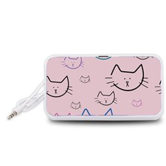 Cat Pattern Face Smile Cute Animals Beauty Portable Speaker (white)