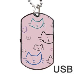 Cat Pattern Face Smile Cute Animals Beauty Dog Tag Usb Flash (one Side)