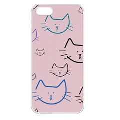 Cat Pattern Face Smile Cute Animals Beauty Apple Iphone 5 Seamless Case (white)