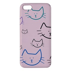 Cat Pattern Face Smile Cute Animals Beauty Apple Iphone 5 Premium Hardshell Case