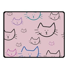 Cat Pattern Face Smile Cute Animals Beauty Double Sided Fleece Blanket (small)